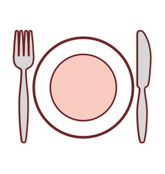Dish with cutlery utensils vector