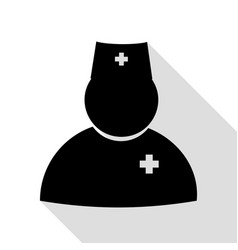 doctor sign black icon with flat vector image vector image