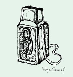 Drawing of vintage camera vector