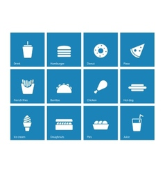 Fast food icons on blue background vector
