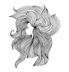 girl with long beautiful hair vector image vector image