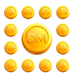 gold shiny coins with money signs of various vector image vector image