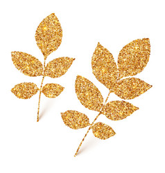 Golden glitter leaves isolated on white background vector