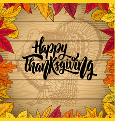 Happy thanksgiving border from autumn leaves on vector