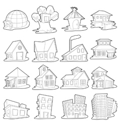 Houses icons set outline cartoon style vector