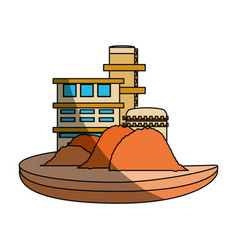 Isolated sand factory building vector