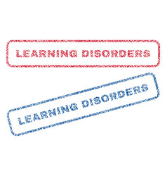 Learning disorders textile stamps vector