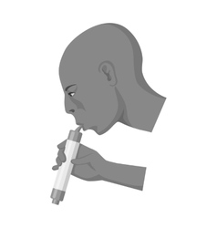 Man drink through compact filter icon in vector