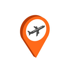 Map pointer with airplane symbol flat isometric vector