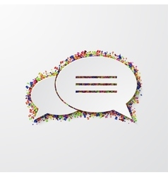 modern bubble speech with confetti on white vector image