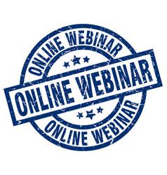 Online webinar blue round grunge stamp vector