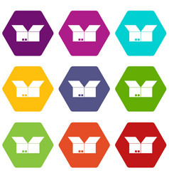 opened cardboard box icon set color hexahedron vector image