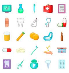 Oral cavity icons set cartoon style vector