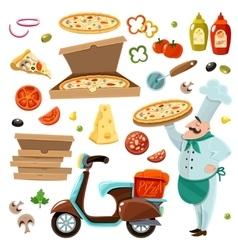 Pizza cartoon set vector