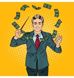 Pop art businessman conducts money with a baton vector