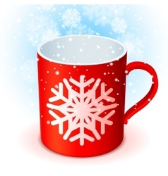 Red cup and snowflake vector
