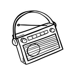 Retro radio in doodle style vector