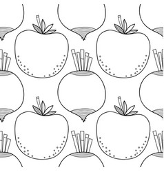 Seamless black and white pattern with tomatoes and vector