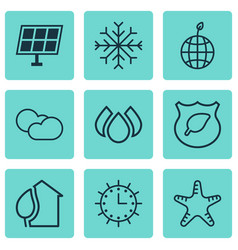 Set of 9 eco-friendly icons includes snow world vector