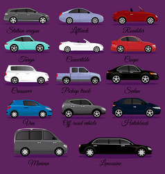 Set of car body types vector