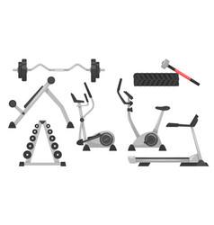 Set of fitness equipmen vector
