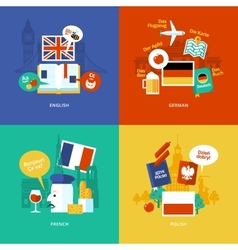 Set of flat design concept icons for foreign vector image vector image