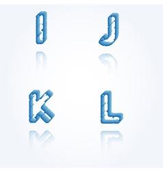 sketch jagged alphabet letters I J K L vector image