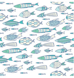soft white pattern with shoal of fishes vector image