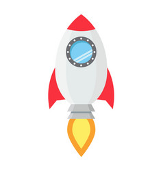 Start up flat line icon business and rocket vector