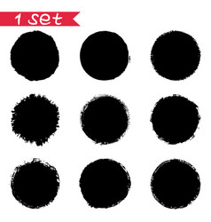 1 set of round black stickers ink blots isolates vector image vector image