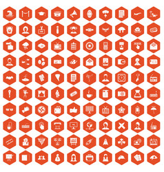 100 journalist icons hexagon orange vector