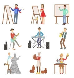 People with artistic professions set of vector