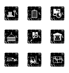 Cargo packing icons set grunge style vector