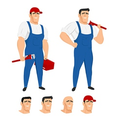 Funny plumber mascot in different poses vector image