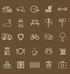 Village line color icons on brown background vector