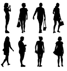 Black silhouette group of people standing in vector