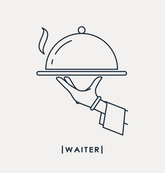 Waiter outline icon waiters hand with tray vector