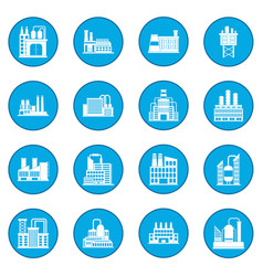 Industrial building factory icon blue vector