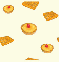 Creme brulee tart and waffle sketch pattern vector