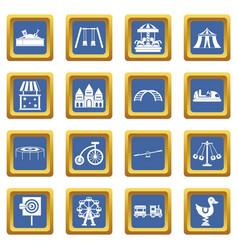 Amusement park icons set blue vector