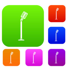 microphone on stand set collection vector image