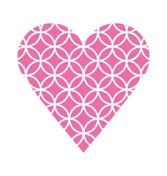 Pink fretwork circle heart vector