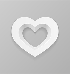 White heart on a gray background vector