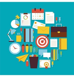 Business Workplace and Office Flat Design Circle vector image