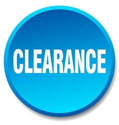 Clearance blue round flat isolated push button vector