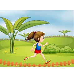 A girl exercising in the park vector image vector image
