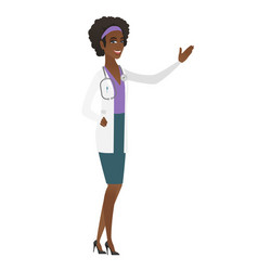 african-american doctor showing a direction vector image vector image