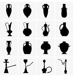 Amphoras jugs vases hookahs vector image vector image