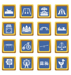 Amusement park icons set blue vector