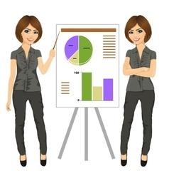 Beautiful businesswoman standing near flip board vector